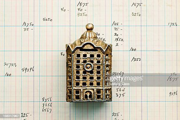 Small building replica on graph paper