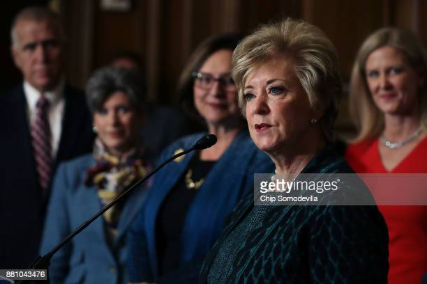 Small Business Administration Administrator Linda McMahon speaks during a rally with GOP senators and representatives from small business interest...