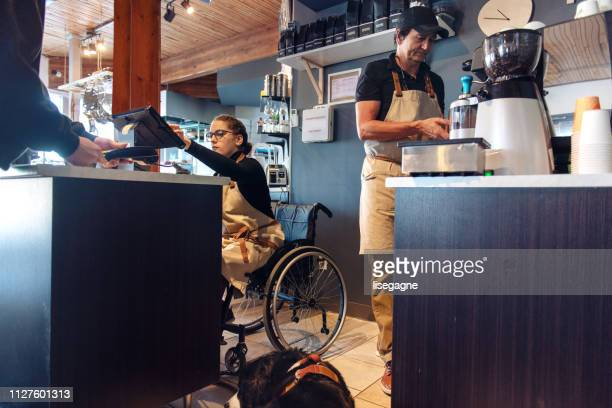 small business family created for disable people - disability stock pictures, royalty-free photos & images