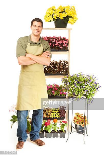 Small Business Flower Shop Garden Nursery Owner on White Background