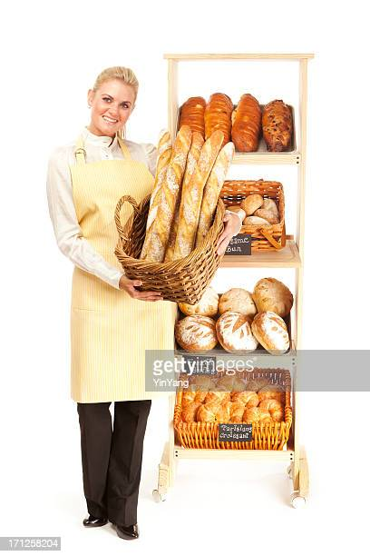 Small Business Local Bakery Shop Baker Owner on White Background