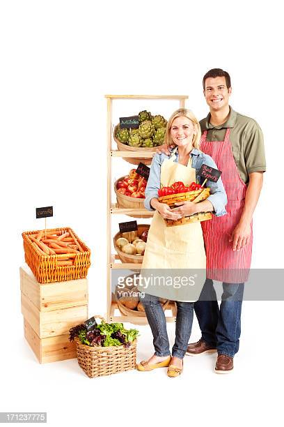 Small Business Local Grocery Shop Owners Couple on White Background