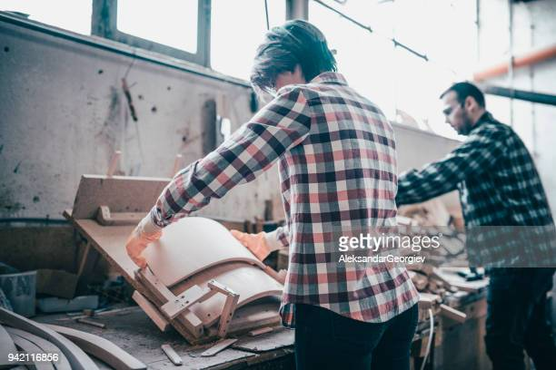small business of a young couple, wood industry - small stock pictures, royalty-free photos & images