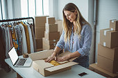 women owener small business packing product