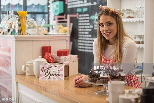 Small business owner in cake shop