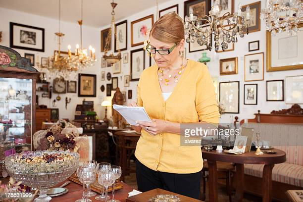 Small business owner in her antique shop
