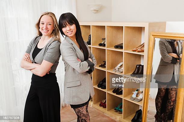 Small Business Owners, Two Women Partners in Retail Shoe Store
