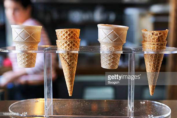Small Business Selling Ice Cream Presents Cones on Retail Display
