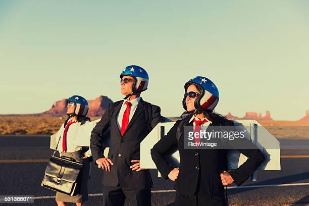 Petite équipe d'affaires portant Jetpacks de Monument Valley