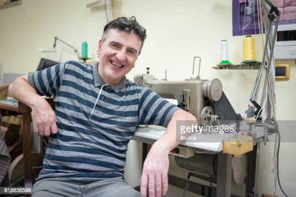 Small business upholsterer laboratory: Portrait