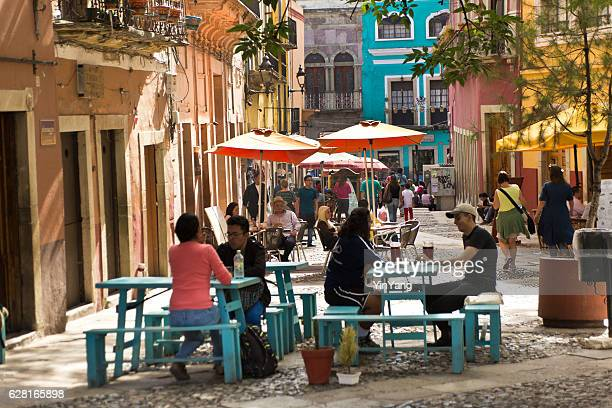 Small Cafe Restaurant with Tourists in Guanajuato, Mexico