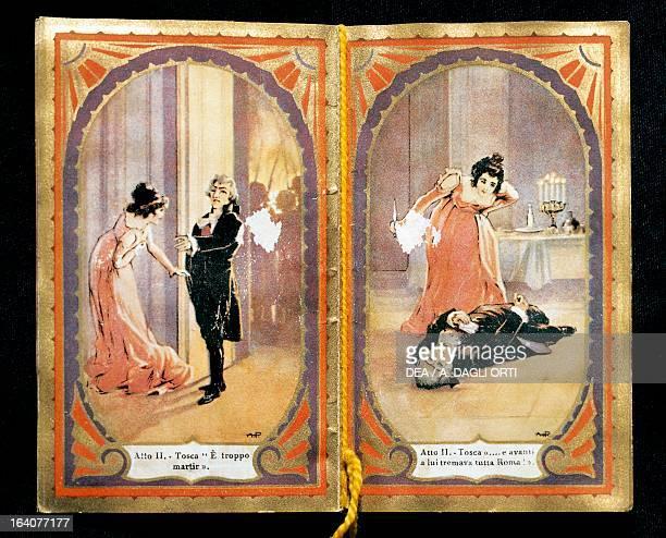 Small calender illustrating scenes from Tosca, opera by Giacomo Puccini . Lucca, Casa Di Giacomo Puccini