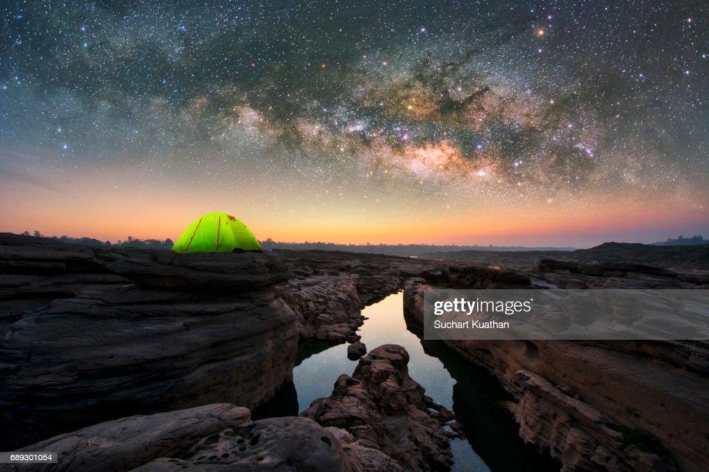 Small Camping Tent Illuminated Inside : Stock Photo