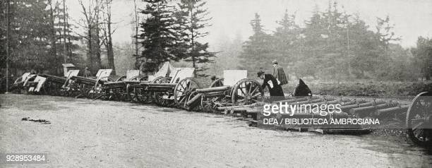 Small cannons used by the enemy during the First World War and exhibited as war trophies at the Sforza Castle in Milan Italy from the magazine...