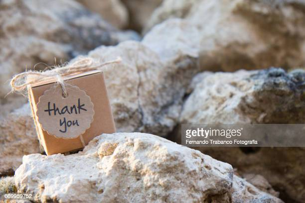 Small cardboard box with a thank you gift on rocks in the meadow