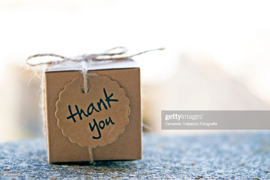 Small cardboard box with a thank you gift : ストックフォト