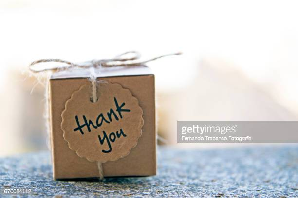 small cardboard box with a thank you gift - thank you phrase stock pictures, royalty-free photos & images