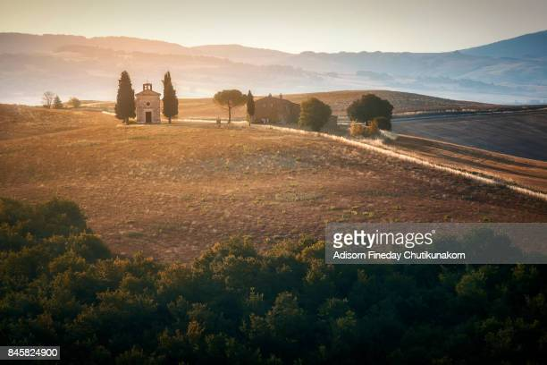 Small chapel in Val d'Orcia, region of Tuscany, Italy