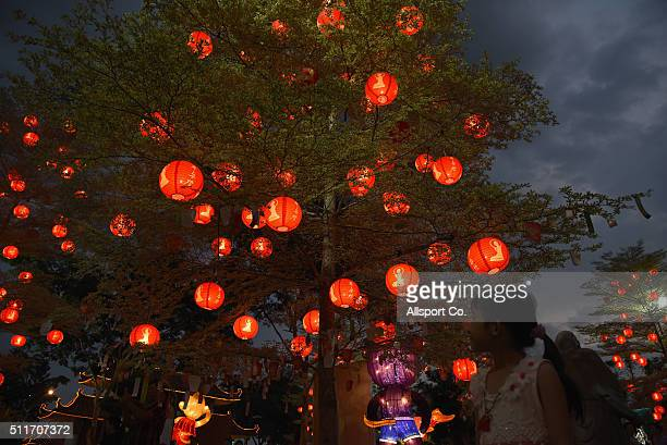 A small Chinese girl looks at Chinese traditional lanterns on the trees at the Fo Guang Shan Dong Zen Temple to celebrate the Lantern Festival on the...