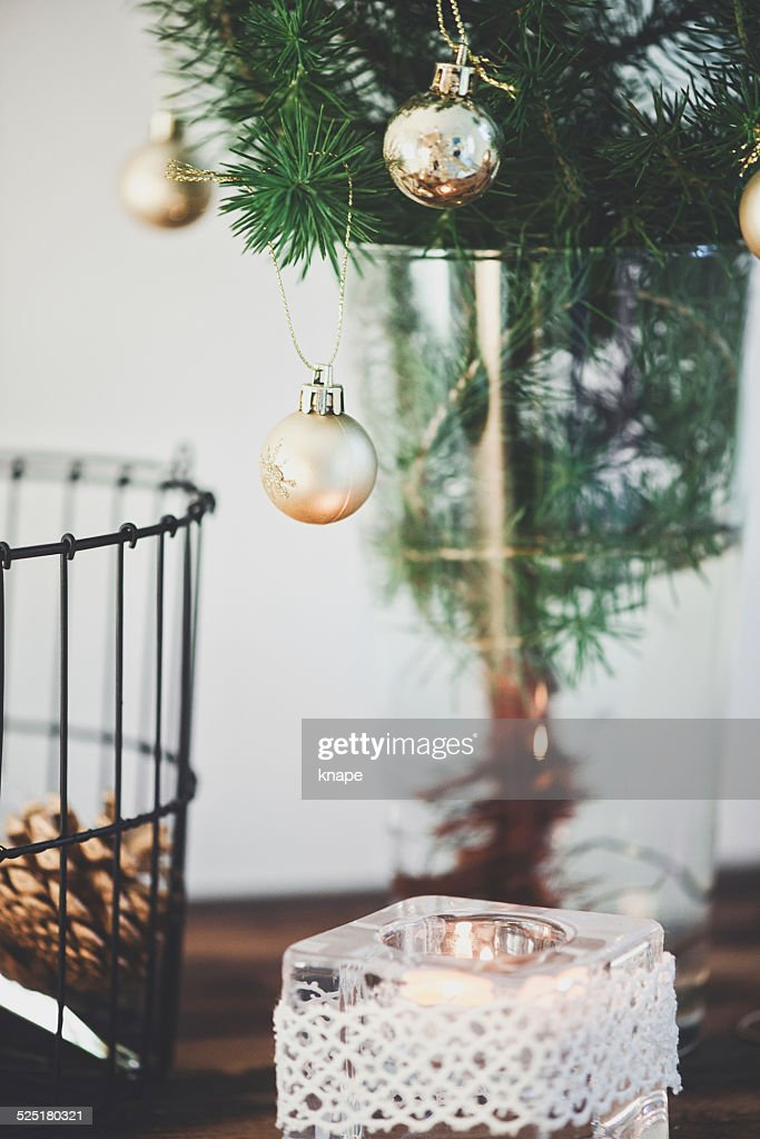 Small Christmas Tree In Vase Stock Photo Getty Images