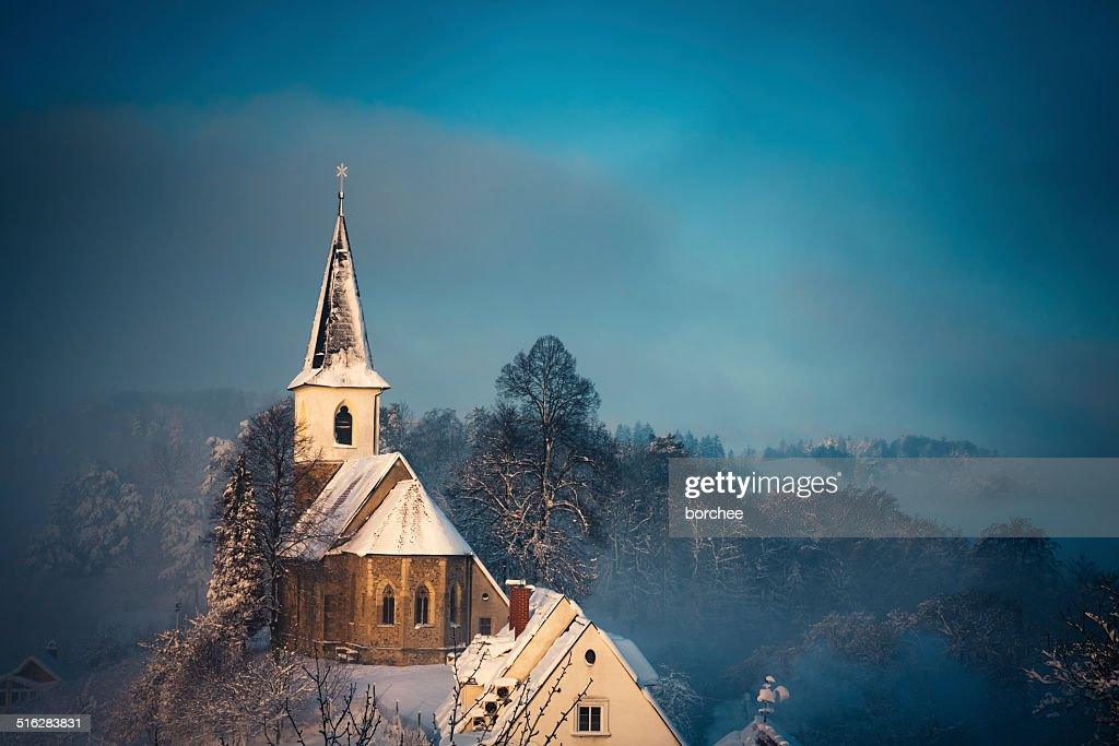 Small Church After The Snow Storm : Stock Photo