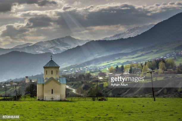 A small church in Chvabiani Village near Mestia town,Upper Svaneti,Georgia