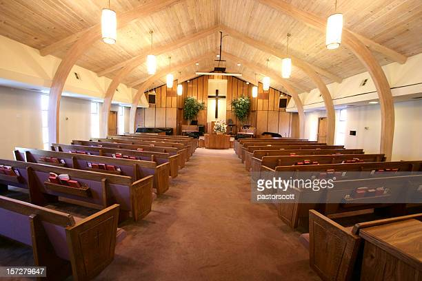 small church sanctuary - christendom stockfoto's en -beelden