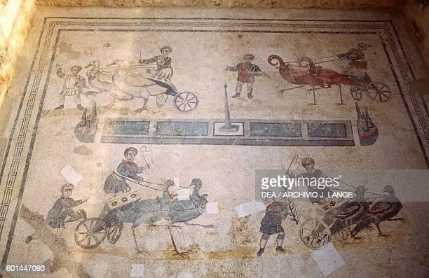 Small circus mosaic floor from the vestibule of the small circus mosaic floor from the Villa Romana del Casale Piazza Armerina Sicily Roman...