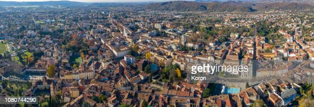 small city view from the sky, gozia drone view - gorizia stock pictures, royalty-free photos & images