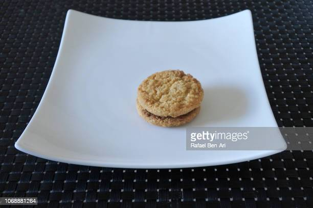 Small Cookie Served on a White Plate