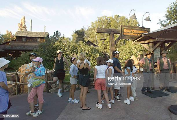 A small crowd gathers to que at Disneyland's Big Thunder Mountain Railroad ride which was closed down for safety reasons and was expected to reopen...