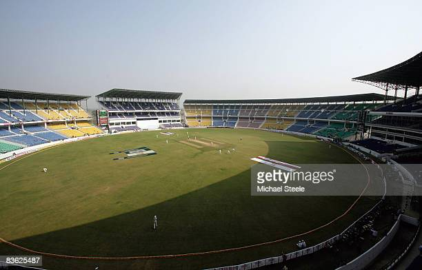 Small crowd watch the action during day five of the Fourth Test match between India and Australia at Vidarbha Cricket Association Stadium on November...