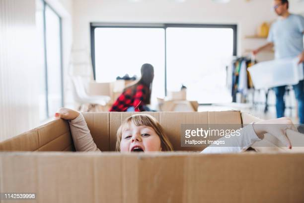 a small cute girl in a cardboard box when moving in a new home, having fun. - new home stock pictures, royalty-free photos & images