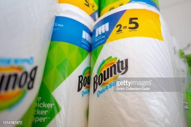 Small domestic stockpile of Bounty paper towels and other paper products, which were in short supply in many regions, in San Ramon, California during...
