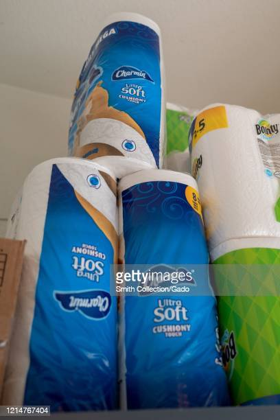 Small domestic stockpile of Charmin toilet paper, Bounty paper towels and other paper products, which were in short supply in many regions, in San...