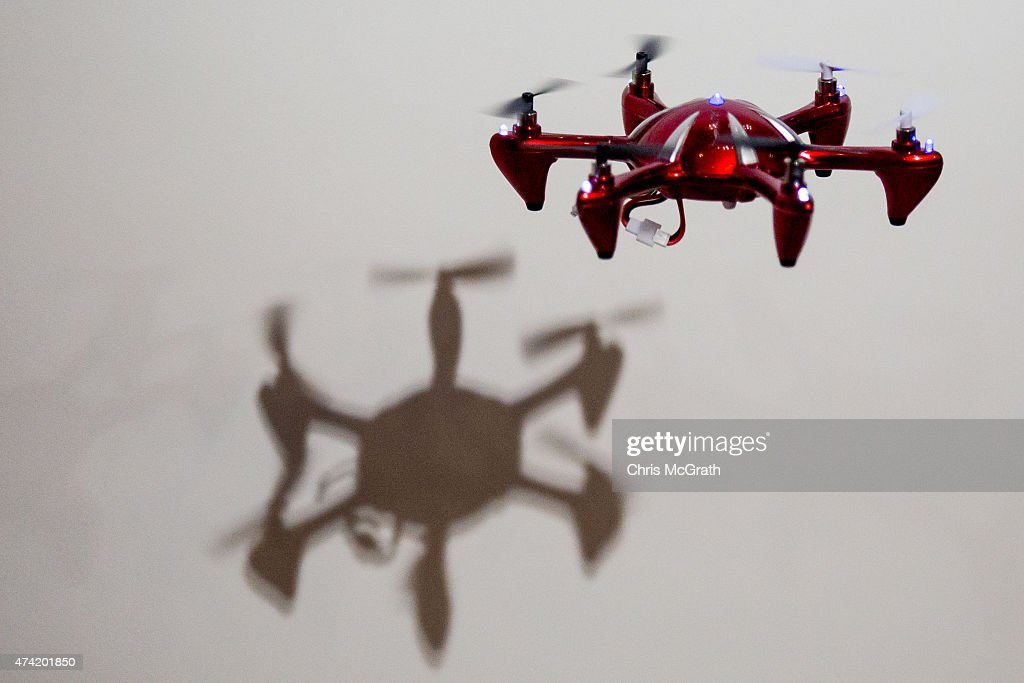 A small drone is seen flying during a demonstration at the International Drone Expo 2015 at Makuhari Messe on May 21, 2015 in Chiba, Japan.