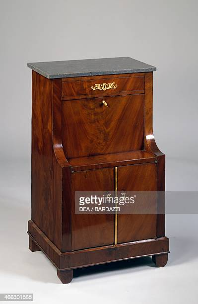 Small Empire style mahogany drop leaf bedside table and desk France 19th century