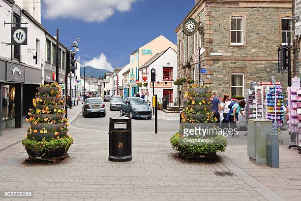 Small English Town Street, Keswick, Lake District, England.