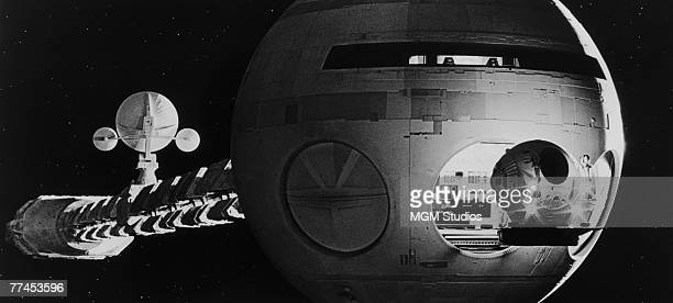 A small EVA pod exits the Discovery One in a scene from the classic science fiction movie '2001 A Space Odyssey' directed by Stanley Kubrick for MGM...