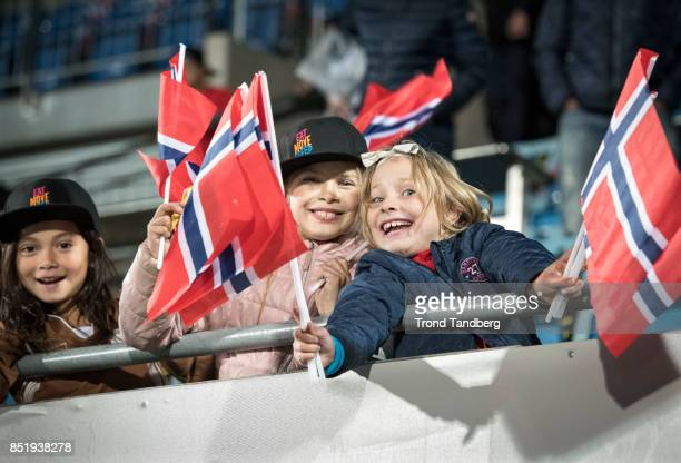 Small fans of Norway during the FIFA 2018 World Cup Qualifier between Norway and Slovakia at Sarpsborg Stadion on September 19 2017 in Sarpsborg
