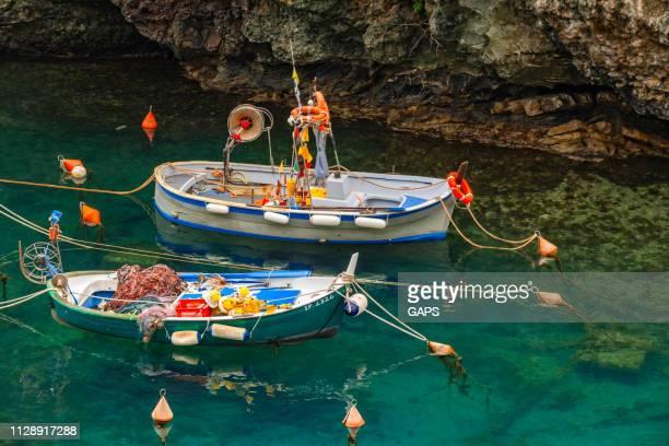 small fihing boats in the harbour of framura - liguria foto e immagini stock