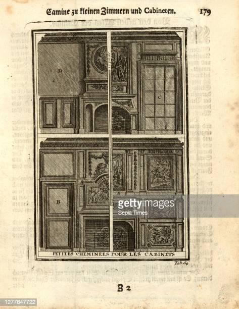 Small fireplaces for cabinets, Small chimneys, tab. 64, p. 179, Augustin-Charles d'Aviler, Vignola, Michelangelo, Leonhard Christoph Sturm, Hertel:...
