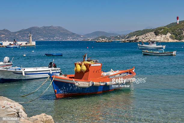 small fisherman boat,vathy,samos island,greece - samos stock photos and pictures