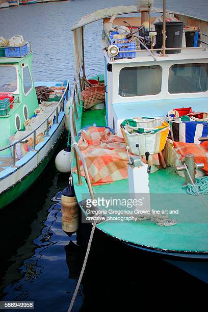 small fishing boats - gregoria gregoriou crowe fine art and creative photography. stock pictures, royalty-free photos & images