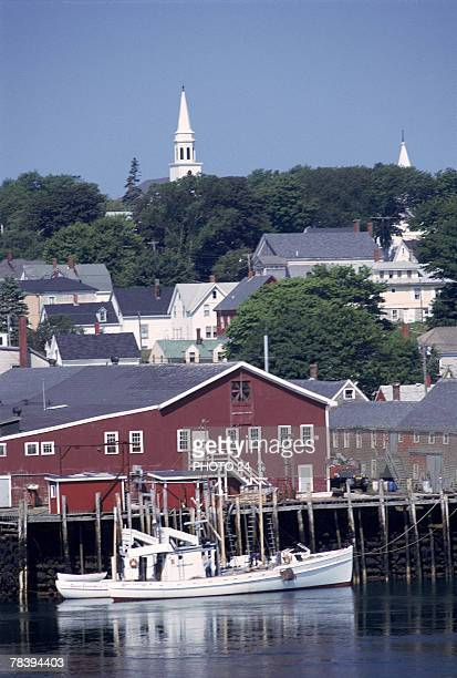 small fishing village - lubec stock photos and pictures