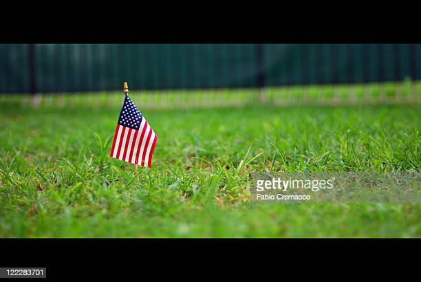 Small flag stage on grass