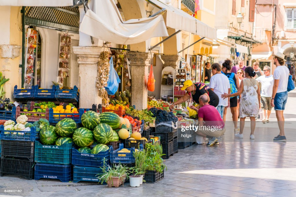 Small fruit and vegetable shop in the Corfu Old town, Greece : Stock Photo
