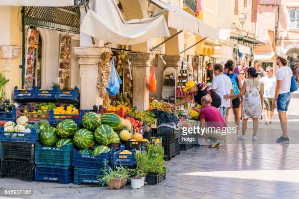 Small fruit and vegetable shop in the Corfu Old town, Greece