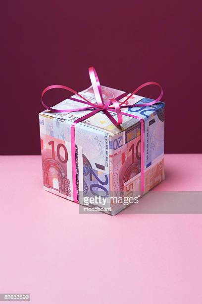 Small gift wrapped in Euro notes