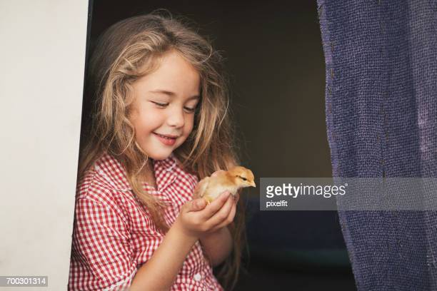Small girl holding a baby chicken